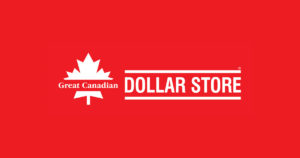 red background with white text, logo for Great Canadian Dollar Store