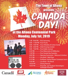 The Town of Altona presents CANADA DAY! at the Altona Centennial Park Monday July 1st 2019